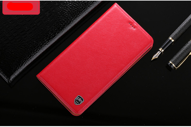 Фирменный чехол-книжка из качественной импортной кожи с подставкой и визитницей для Samsung Galaxy A8 2016 SM-A800x красный