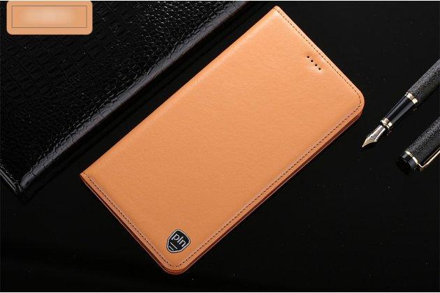 Фирменный чехол-книжка из качественной импортной кожи с подставкой и визитницей для Samsung Galaxy A8 2016 SM-A800x бежевый