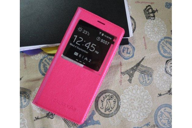 Фирменный оригинальный чехол-книжка с логотипом для Samsung Galaxy A8 2016 SM-A800x розовый водоотталкивающий с окошком для входящих вызовов