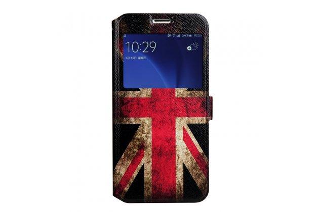 Фирменный уникальный необычный чехол-подставка для Samsung Galaxy A8 2016 SM-A800x  тематика Британский флаг