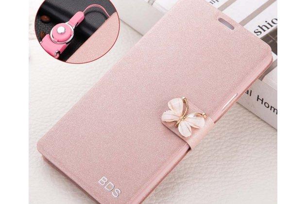 Фирменный роскошный чехол-книжка безумно красивый декорированный бусинками и кристаликами на Samsung Galaxy A8 2016 SM-A800x розовое золото