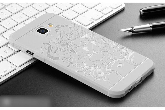 """Фирменная роскошная задняя панель-чехол-накладка  из мягкого силикона с безумно красивым расписным 3D рисунком на Samsung Galaxy A8 2016 SM-A800x """"тематика Дракон"""" серая"""