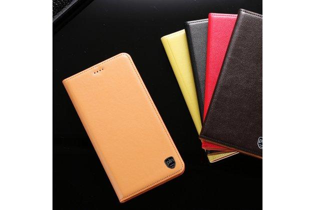 Фирменный чехол-книжка из качественной импортной кожи с подставкой и визитницей для Samsung Galaxy A8 2016 SM-A800x лимонный