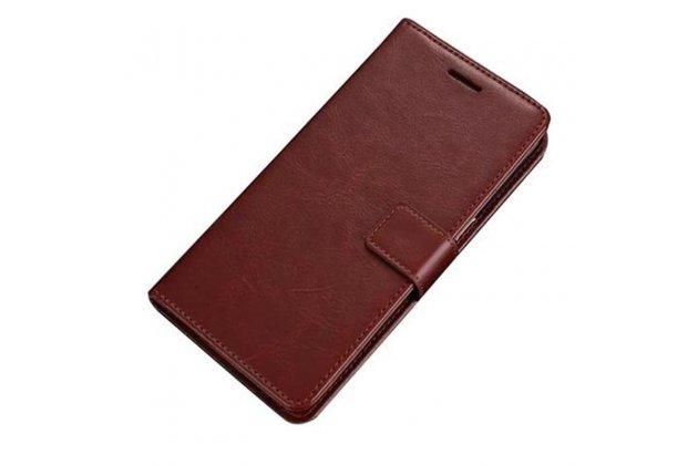 Фирменный чехол-книжка из качественной импортной кожи с подставкой застёжкой и визитницей для Samsung Galaxy A8 2016 SM-A800x коричневый