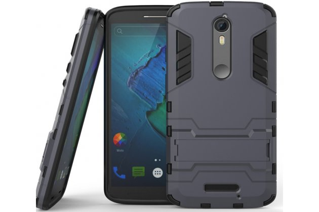 Противоударный усиленный ударопрочный фирменный чехол-бампер-пенал для Motorola Moto X Force (XT1585 / XT1581) 32Gb/ 64Gb черный