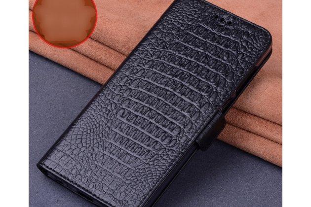 Фирменный роскошный эксклюзивный чехол с фактурной прошивкой рельефа кожи крокодила черный для Motorola Moto X Force (XT1585 / XT1581) 32Gb/ 64Gb. Только в нашем магазине. Количество ограничено