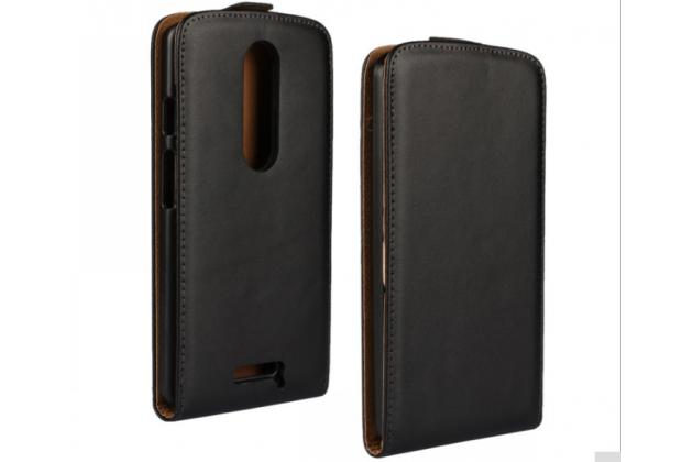 Фирменный оригинальный вертикальный откидной чехол-флип для Motorola Moto X Force (XT1585 / XT1581) 32Gb/ 64Gb черный из натуральной кожи Prestige