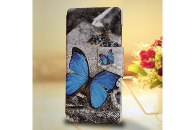 Фирменный уникальный необычный чехол-подставка для Motorola Moto X Force (XT1585 / XT1581) 32Gb/ 64Gb  тематика Радужные бабочки