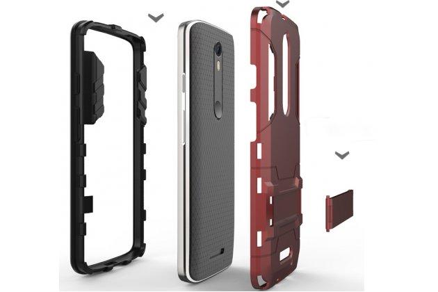 Противоударный усиленный ударопрочный фирменный чехол-бампер-пенал для Motorola Moto X Force (XT1585 / XT1581) 32Gb/ 64Gb красный