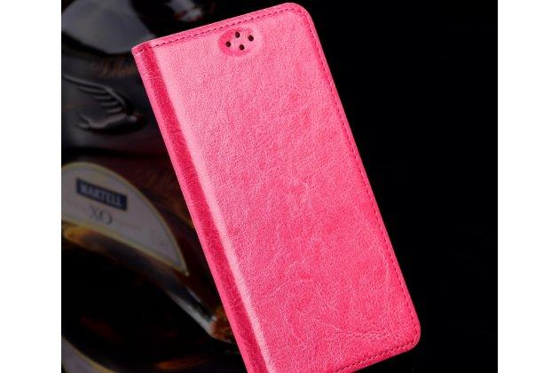 Фирменный премиальный чехол-книжка из качественной импортной кожи с мульти-подставкой для Motorola Moto X Force (XT1585 / XT1581) 32Gb/ 64Gb розовый