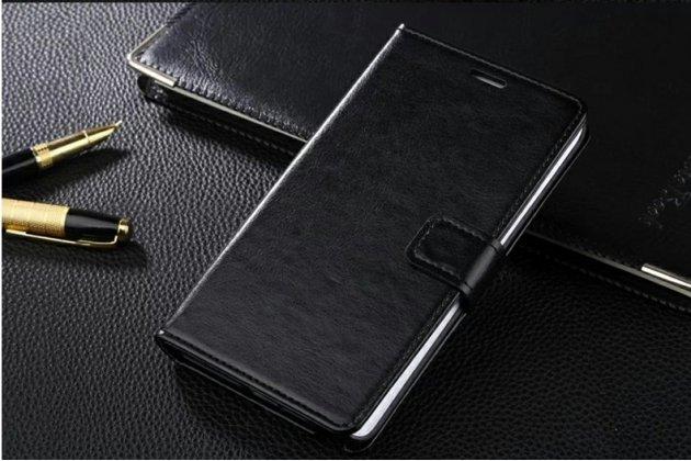 Фирменный чехол-книжка из качественной импортной кожи с подставкой застёжкой и визитницей для Motorola Moto X Force (XT1585 / XT1581) 32Gb/ 64Gb черный