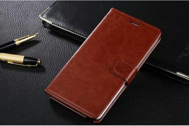 Фирменный чехол-книжка из качественной импортной кожи с подставкой застёжкой и визитницей для Motorola Moto X Force (XT1585 / XT1581) 32Gb/ 64Gb коричневый