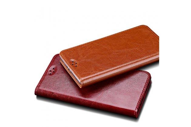 Фирменный премиальный чехол-книжка из качественной импортной кожи с мульти-подставкой для Motorola Moto X Force (XT1585 / XT1581) 32Gb/ 64Gb  коричневый