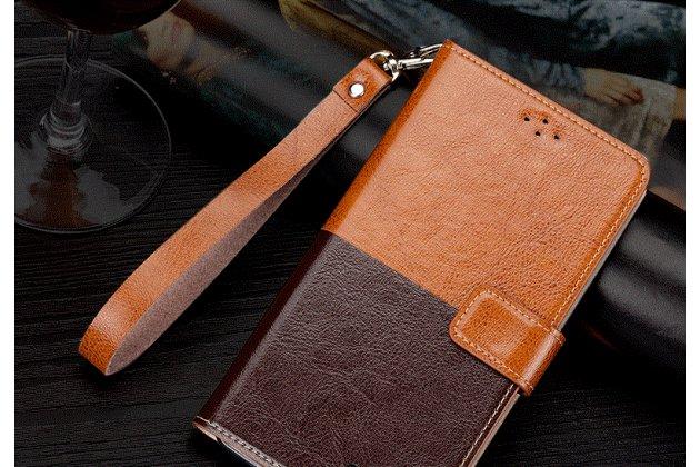 Фирменный чехол-книжка из качественной импортной кожи с подставкой застёжкой и визитницей для Philips S616 коричневый