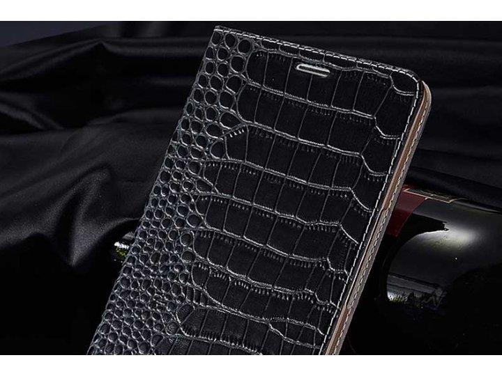 Фирменный роскошный эксклюзивный чехол с фактурной прошивкой рельефа кожи крокодила и визитницей черный для Ph..