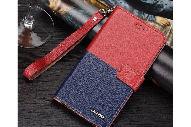Фирменный чехол-книжка из качественной импортной кожи с подставкой застёжкой и визитницей для Philips S616 красно-синий