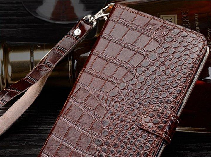 Фирменный чехол с фактурной прошивкой рельефа кожи крокодила и визитницей коричневый для Philips S616. Только ..