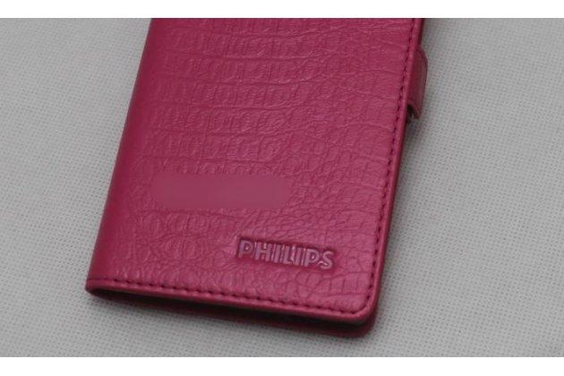 Фирменный оригинальный подлинный чехол с логотипом для Philips S616 из натуральной кожи крокодила розовый