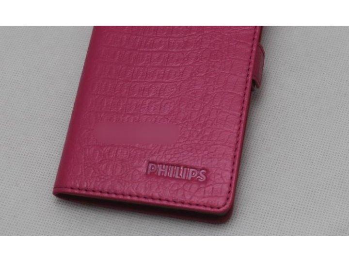 Фирменный оригинальный подлинный чехол с логотипом для Philips S616 из натуральной кожи крокодила розовый..