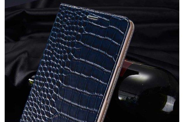 Фирменный роскошный эксклюзивный чехол с фактурной прошивкой рельефа кожи крокодила и визитницей синий для Philips S616. Только в нашем магазине. Количество ограничено
