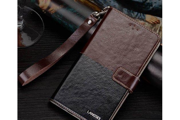 Фирменный чехол-книжка из качественной импортной кожи с подставкой застёжкой и визитницей для Philips S616 коричнево-черный