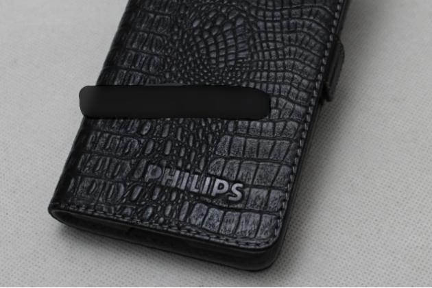 Фирменный оригинальный подлинный чехол с логотипом для Philips S616 из натуральной кожи крокодила черный