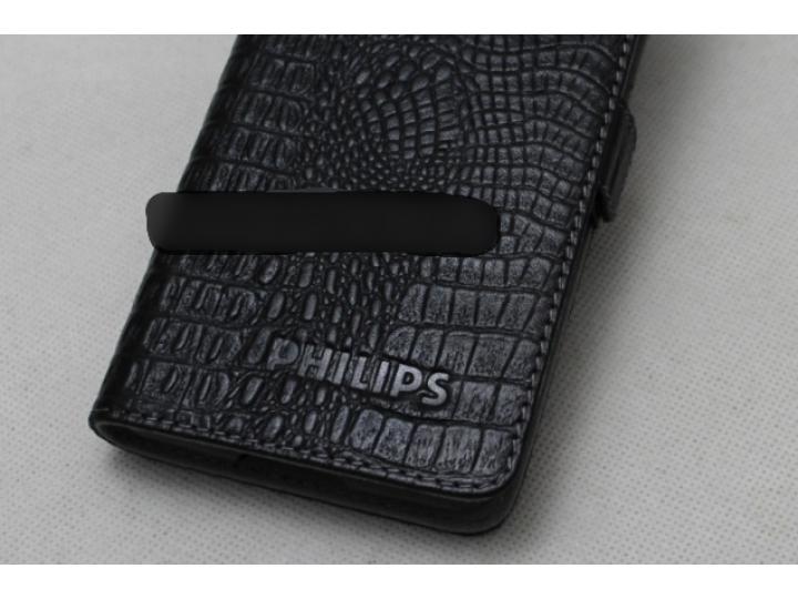 Фирменный оригинальный подлинный чехол с логотипом для Philips S616 из натуральной кожи крокодила черный..