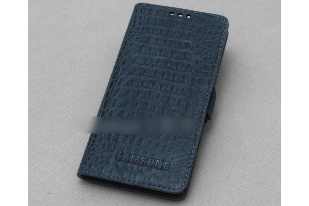 Фирменный оригинальный подлинный чехол с логотипом для Samsung Galaxy A7 2016 / A7100 / A710F / A7  5.5 из натуральной кожи крокодила синий