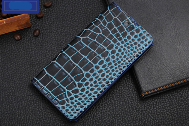Фирменный роскошный эксклюзивный чехол с фактурной прошивкой рельефа кожи крокодила и визитницей синий для Samsung Galaxy A7 2016 / A7100 / A710F / A7  5.5. Только в нашем магазине. Количество ограничено