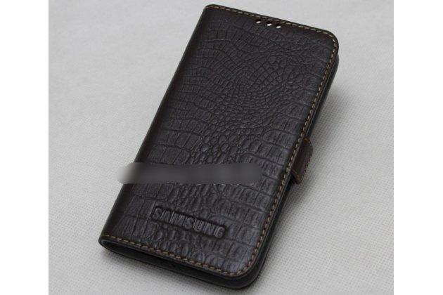 Фирменный оригинальный подлинный чехол с логотипом для Samsung Galaxy A7 2016 / A7100 / A710F / A7  5.5 из натуральной кожи крокодила темно-коричневый