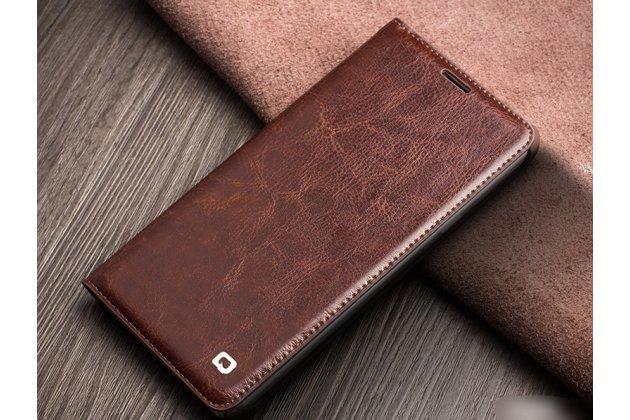 Фирменный премиальный элитный чехол-книжка из качественной импортной кожи с мульти-подставкой и визитницей для Samsung Galaxy A7 2016 / A7100 / A710F / A7  5.5 коричневый