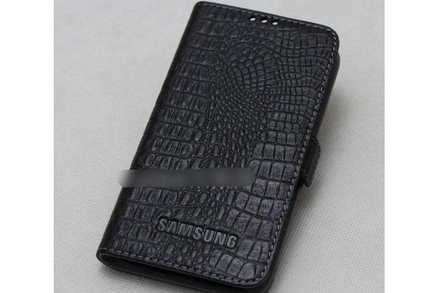 Фирменный оригинальный подлинный чехол с логотипом для Samsung Galaxy A7 2016 / A7100 / A710F / A7  5.5 из натуральной кожи крокодила черный