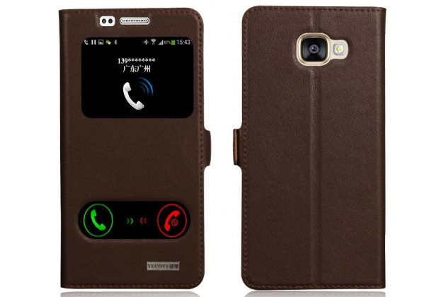 Фирменный чехол-книжка для Samsung Galaxy A7 2016 / A7100 / A710F / A7  5.5 коричневый с окошком для входящих вызовов и свайпом водоотталкивающий