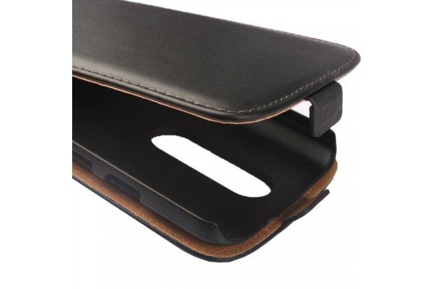 Фирменный оригинальный вертикальный откидной чехол-флип для Motorola Moto X Play (XT1561 / XT1562) черный из натуральной кожи Prestige