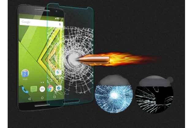 Фирменное защитное закалённое противоударное стекло для телефона Motorola Moto X Play (XT1561 / XT1562) из качественного японского материала премиум-класса с олеофобным покрытием