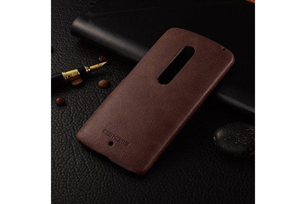 Фирменная роскошная задняя панель-крышка обтянутая импортной кожей для Motorola Moto X Play (XT1561 / XT1562) коричневая