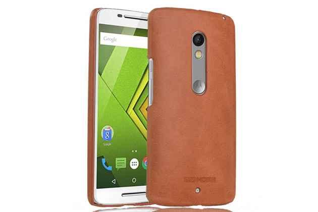 Фирменная роскошная задняя панель-крышка обтянутая импортной кожей для Motorola Moto X Play (XT1561 / XT1562) светло-коричневая