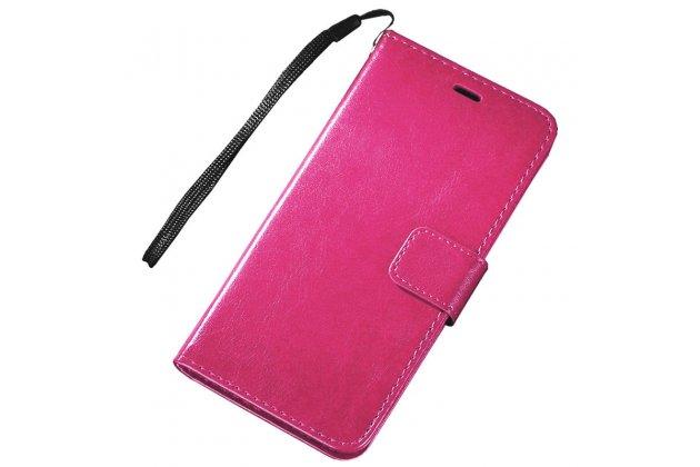 Фирменный чехол-книжка из качественной импортной кожи с подставкой застёжкой и визитницей для Motorola Moto X Play (XT1561 / XT1562) розовый