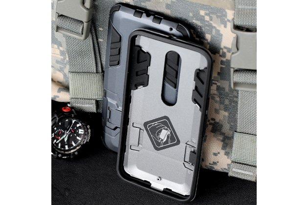 Противоударный усиленный ударопрочный фирменный чехол-бампер-пенал для Motorola Moto X Play (XT1561 / XT1562) синий