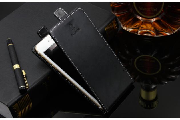 Фирменный оригинальный вертикальный откидной чехол-флип для BQ BQS-5009 Sydney / BQ Mobile BQS-5009 Sydney черный из натуральной кожи Prestige