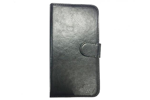 Фирменный чехол-книжка из качественной импортной кожи с подставкой застёжкой и визитницей для BQ BQS-5009 Sydney / BQ Mobile BQS-5009 Sydney черный
