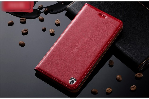 Фирменный премиальный элитный чехол-книжка из качественной импортной кожи с мульти-подставкой и визитницей для Samsung Galaxy A3 (2016) SM-A310/ A3100/ A310F 4.7 красный
