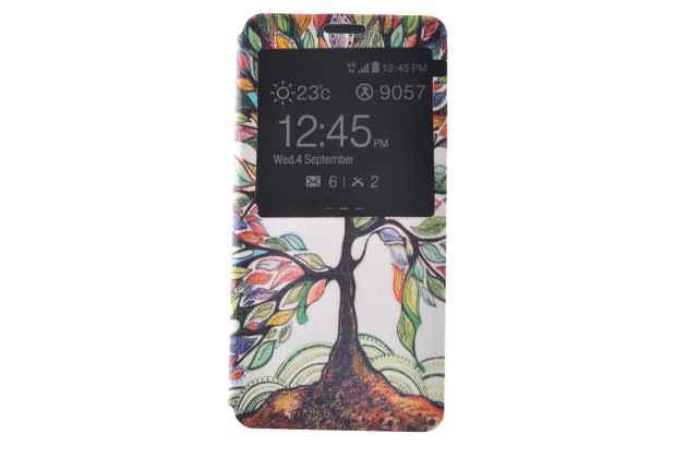 Фирменный уникальный необычный чехол-подставка для Samsung Galaxy A3 (2016) SM-A310/ A3100/ A310F 4.7 тематика Сказочное дерево с окошком для входящих вызовов