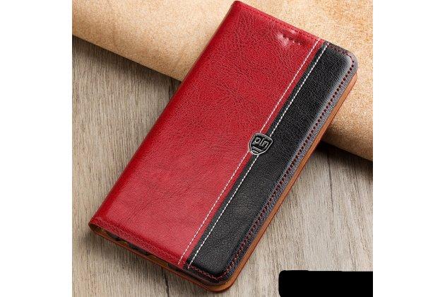 Фирменный премиальный элитный чехол-книжка из качественной импортной кожи с мульти-подставкой и визитницей для Samsung Galaxy J3 (2016) SM-J320F/DS/J320H/DS красно-черный