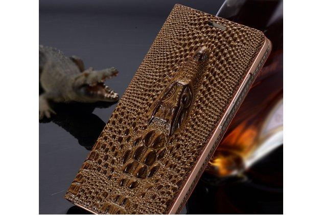 Фирменный роскошный эксклюзивный чехол с объёмным 3D изображением кожи крокодила коричневый для Samsung Galaxy J3 (2016) SM-J320F/DS/J320H/DS . Только в нашем магазине. Количество ограничено