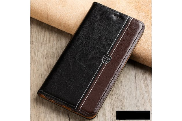 Фирменный премиальный элитный чехол-книжка из качественной импортной кожи с мульти-подставкой и визитницей для Samsung Galaxy J3 (2016) SM-J320F/DS/J320H/DS  черно-коричневый