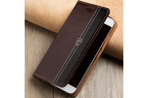 Фирменный премиальный элитный чехол-книжка из качественной импортной кожи с мульти-подставкой и визитницей для Samsung Galaxy J3 (2016) SM-J320F/DS/J320H/DS коричнево-черный