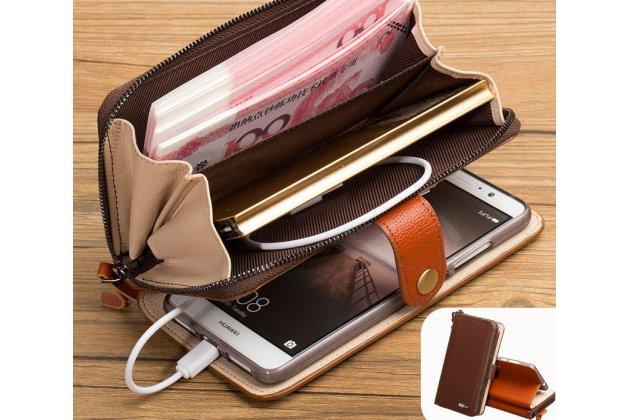 Фирменный чехол-портмоне-клатч-кошелек на силиконовой основе из качественной импортной кожи для Motorola Moto G4 Plus (XT1642) 5.5 коричневый