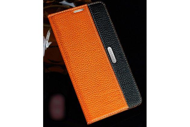 Фирменный премиальный чехол-книжка из качественной импортной кожи с мульти-подставкой и визитницей для Motorola Moto G4 Plus (XT1642) 5.5 коричнево-черный