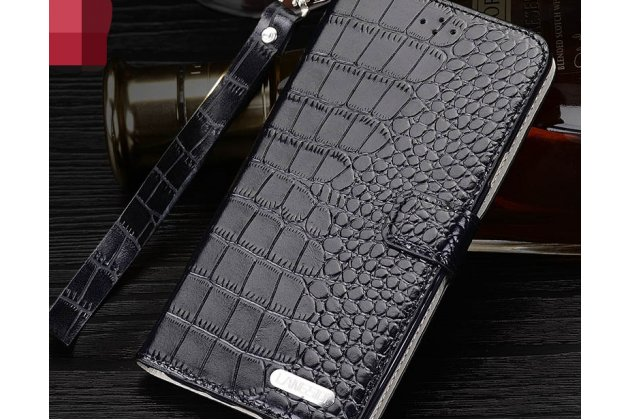Фирменный роскошный эксклюзивный чехол с фактурной прошивкой рельефа кожи крокодила и визитницей черный для Motorola Moto G4 Plus (XT1642) 5.5 . Только в нашем магазине. Количество ограничено